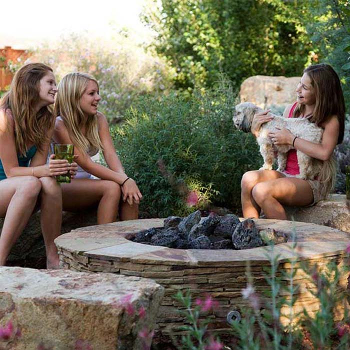 Backyard Fire Pit And Girls