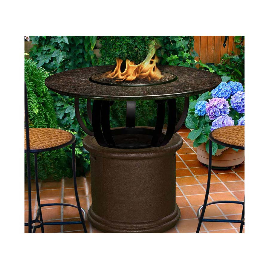 Fire pit table set in use