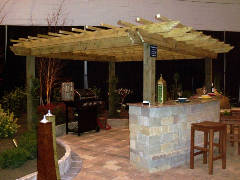 Outdoor Pergola With Bar