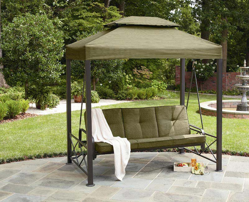 Outdoor Patio Pergola 3 Person Swing Green