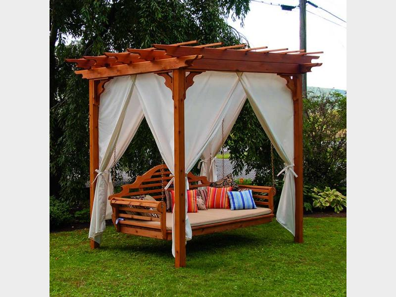 Outdoor Patio Pergola 3 Person Swing Red