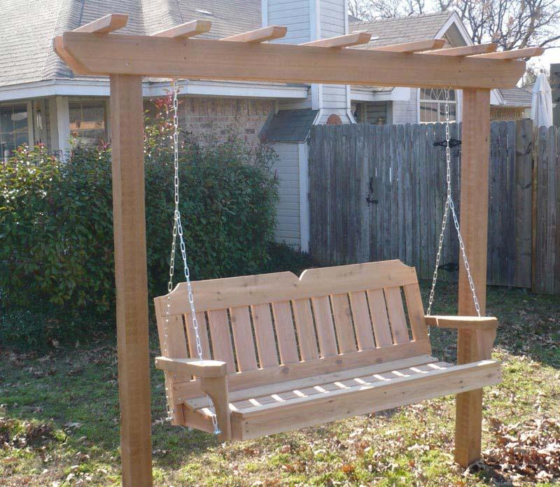Cedar pergola swing bed stand plans