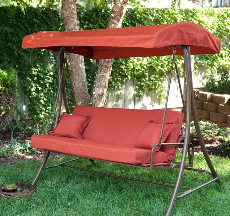 Outdoor 3 Person Swing With Canopy