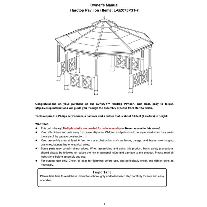 Sunjoy Octagonal Gazebo Instructions