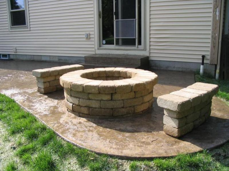 Fire pit rocks home depot and bench