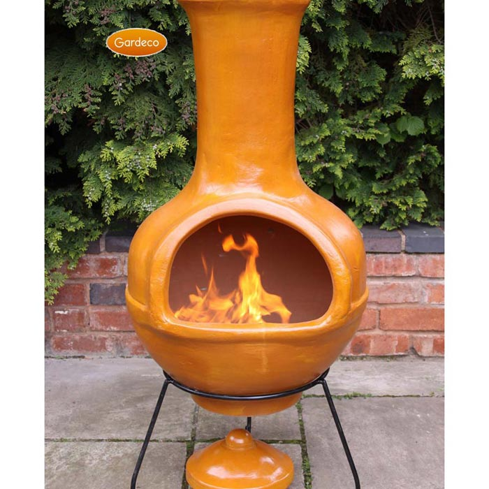 Ceramic fire pit chimney