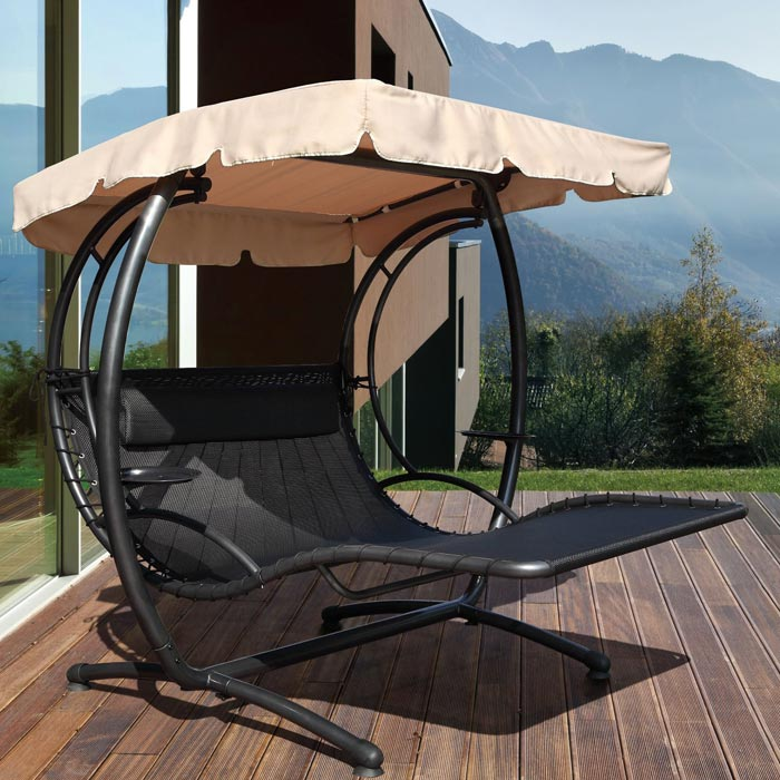 2 Person Patio Swing With Canopy For More Pleasant Summer Evenings