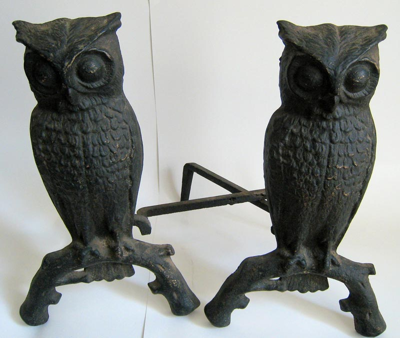Antique Fireplace Andirons Cast Iron