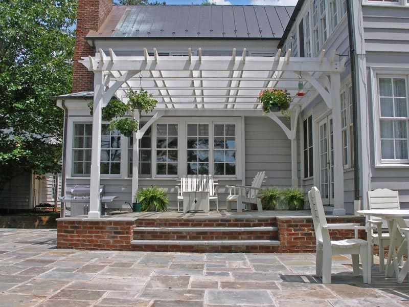 Attached vinyl pergola kit