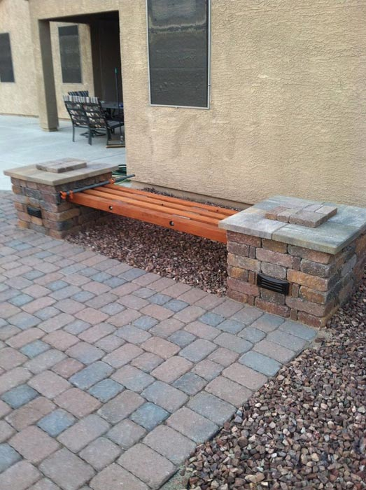 Brick benches ideas wooden