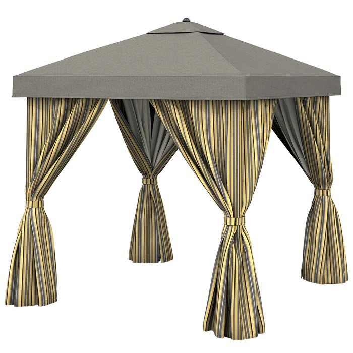 Dressing an outdoor gazebo with curtains
