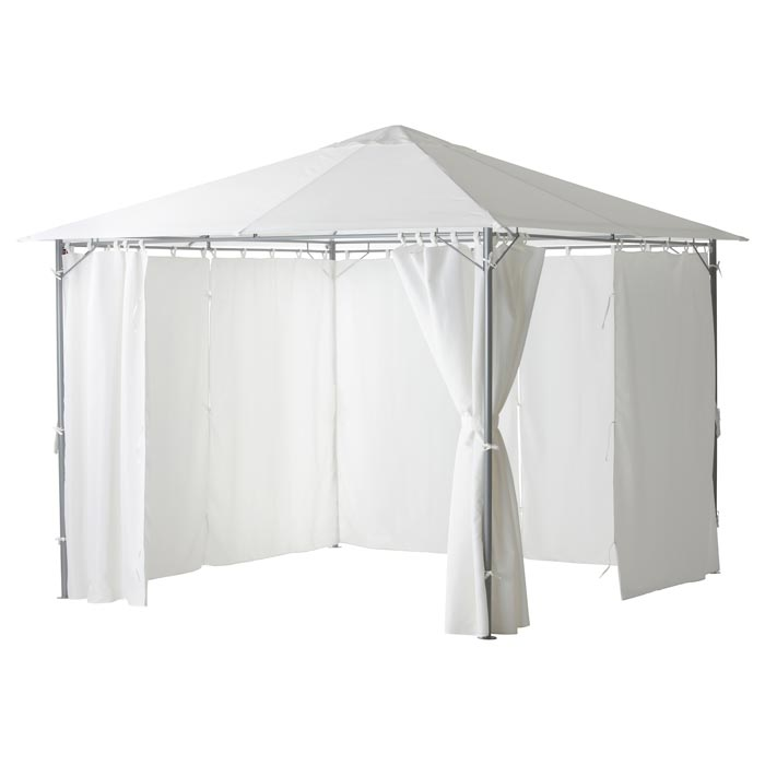Fabric gazebo with curtains