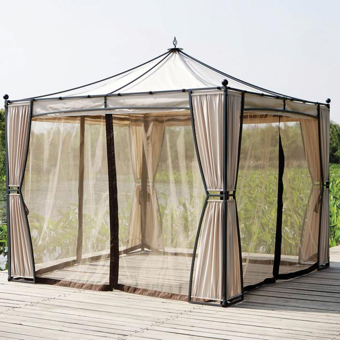 Gazebo with curtains and netting