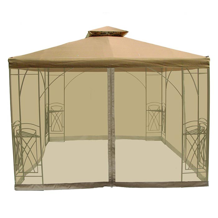 Metal frame gazebo with netting