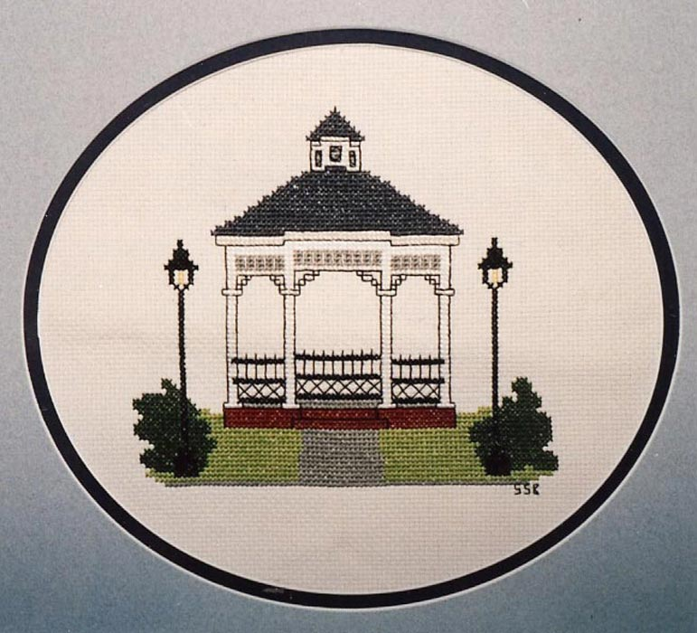 Victorian gazebo cross stitch