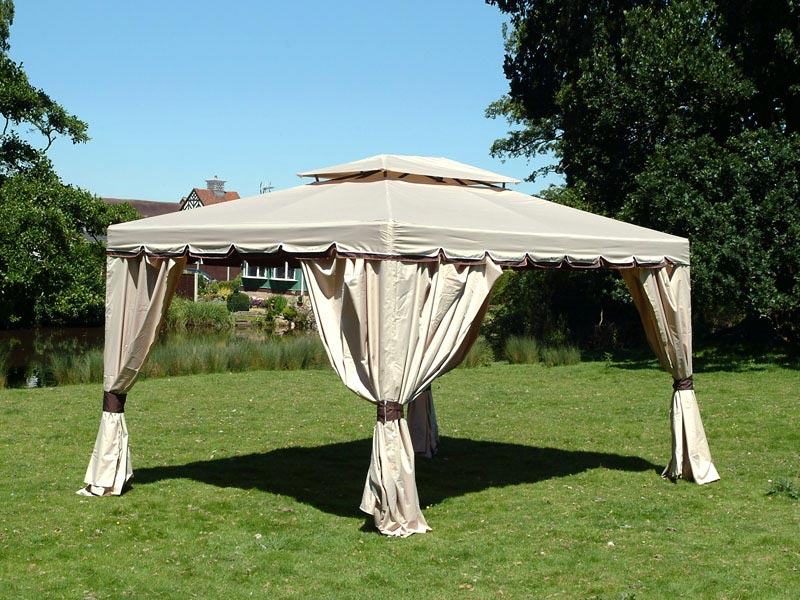 Waterproof gazebo with curtains