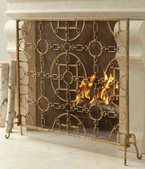 Antique Gold Single Panel Fireplace Screen