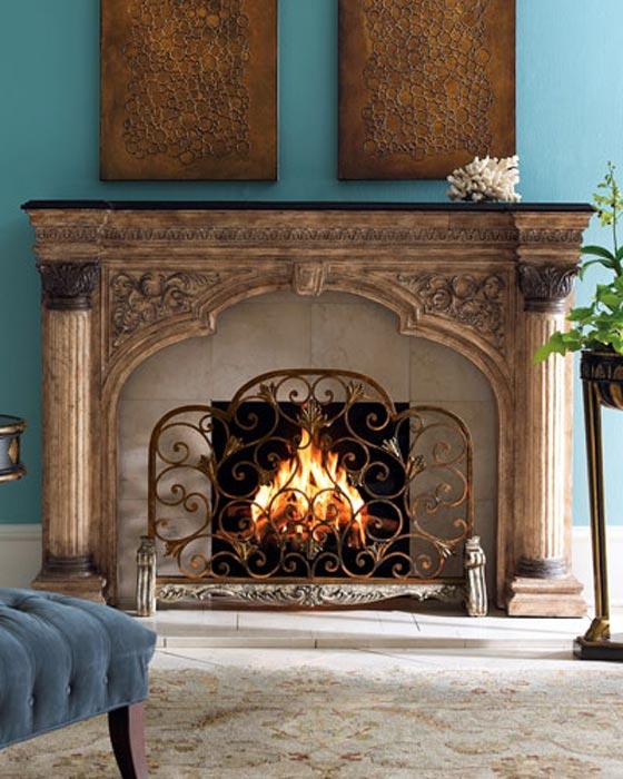 Antique Single Panel Fireplace Screen