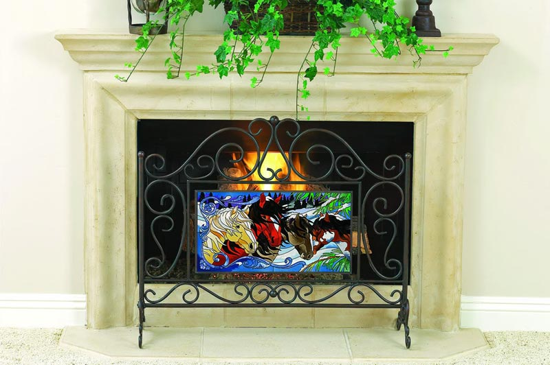 Horses Portrait Stained Glass single panel fireplace screen