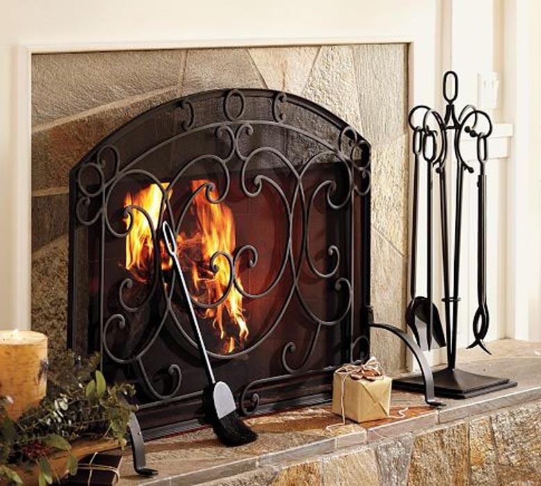Pilgrim Single Panel Forged Iron Fireplace Screen