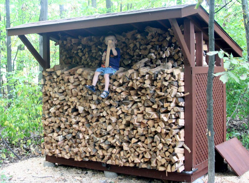 Covered firewood storage rack plans