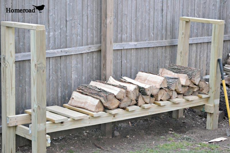 Firewood storage rack diy