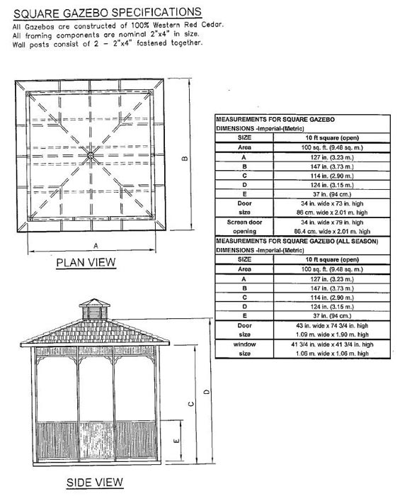 Square gazebo blueprints