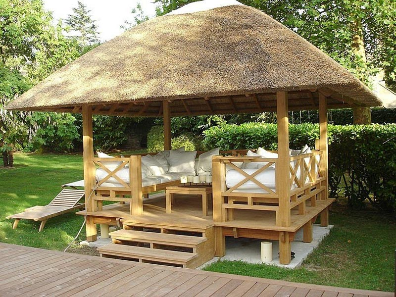 Square gazebo with seating