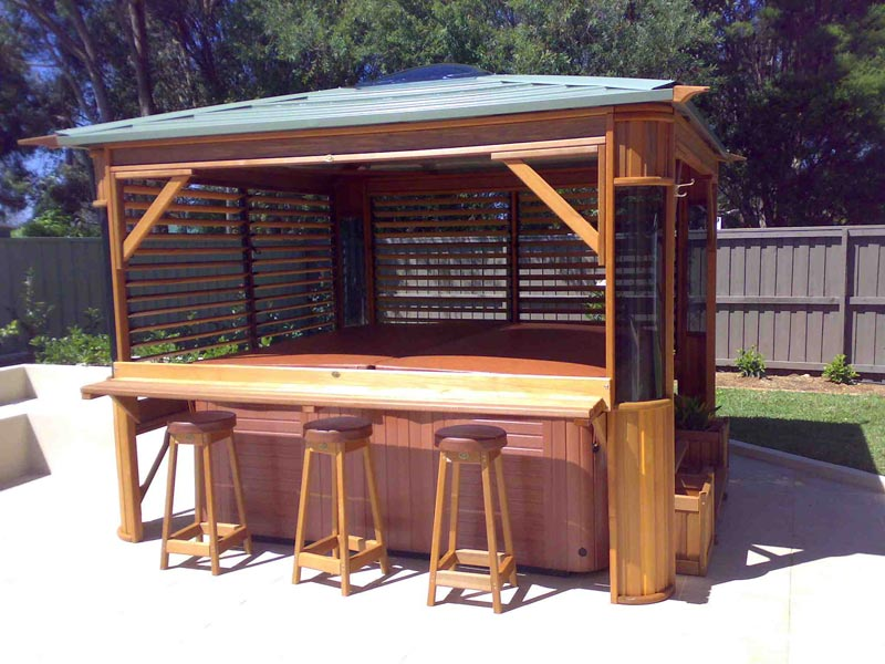 Spa gazebo with bar