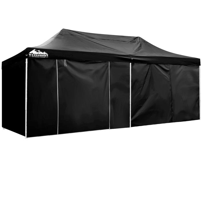 Black gazebo with sides