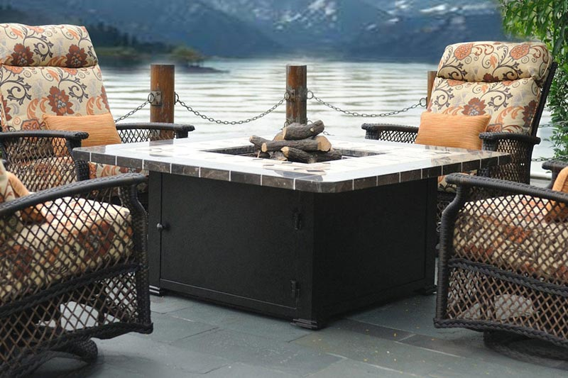 Outside table with fire pit