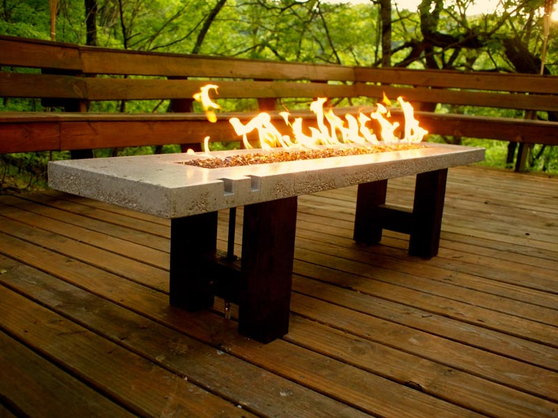 Tall patio table with fire pit