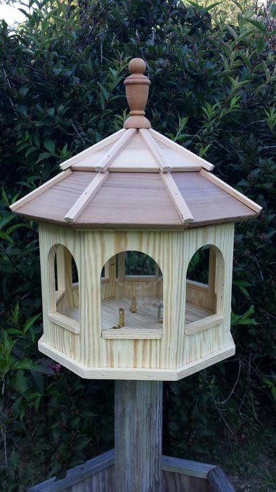 Cedar gazebo bird feeder