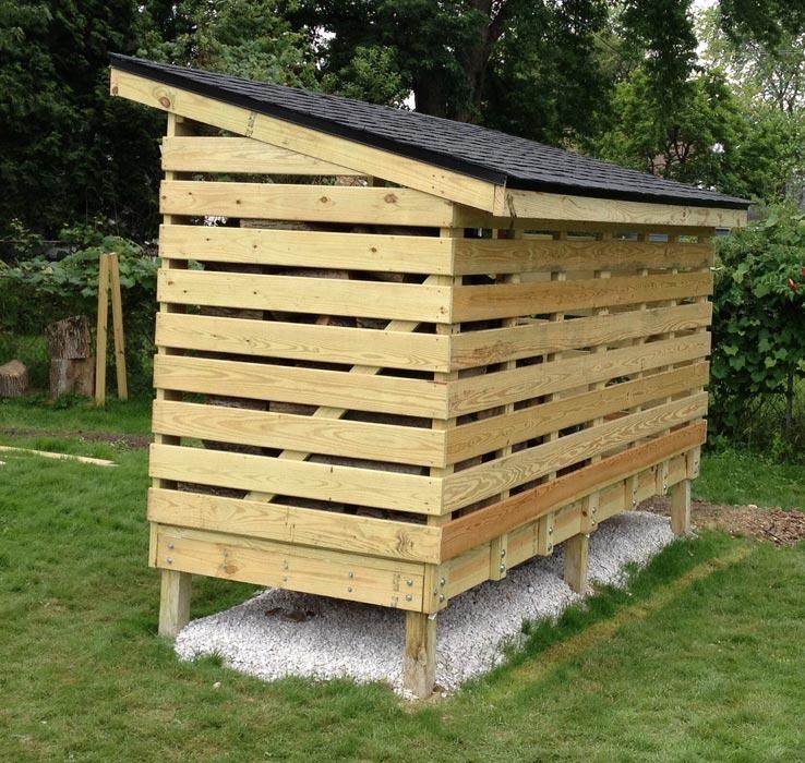 Firewood storage shed designs