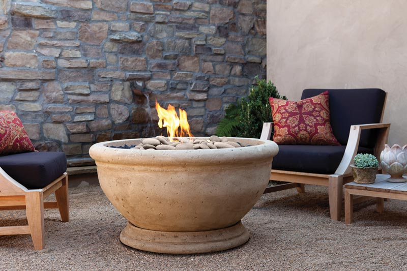 Outdoor fire bowl gas