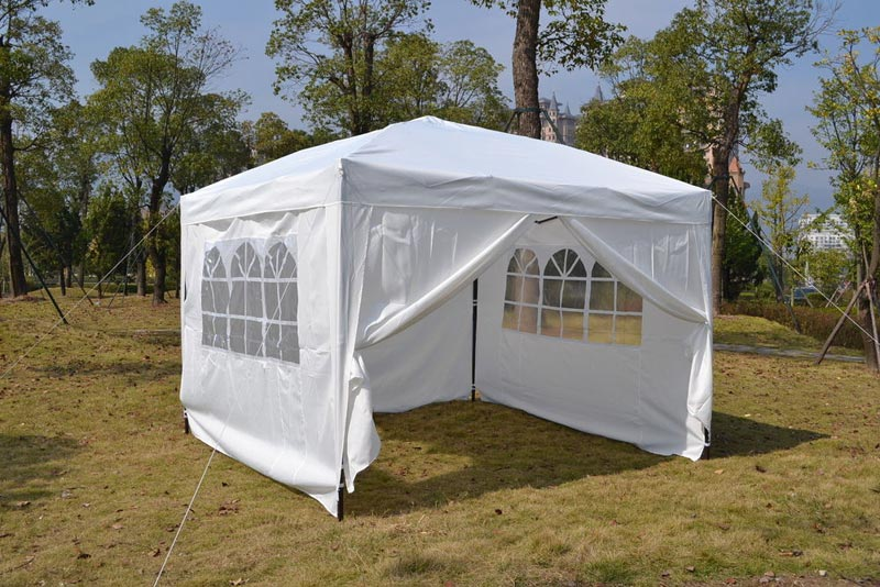 White gazebo with sides