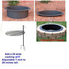 4 Pc DIY Outdoor Round Steel Fire Pit Ring Rim Kit 27″ 30″ 36″ inch Campfire Bon