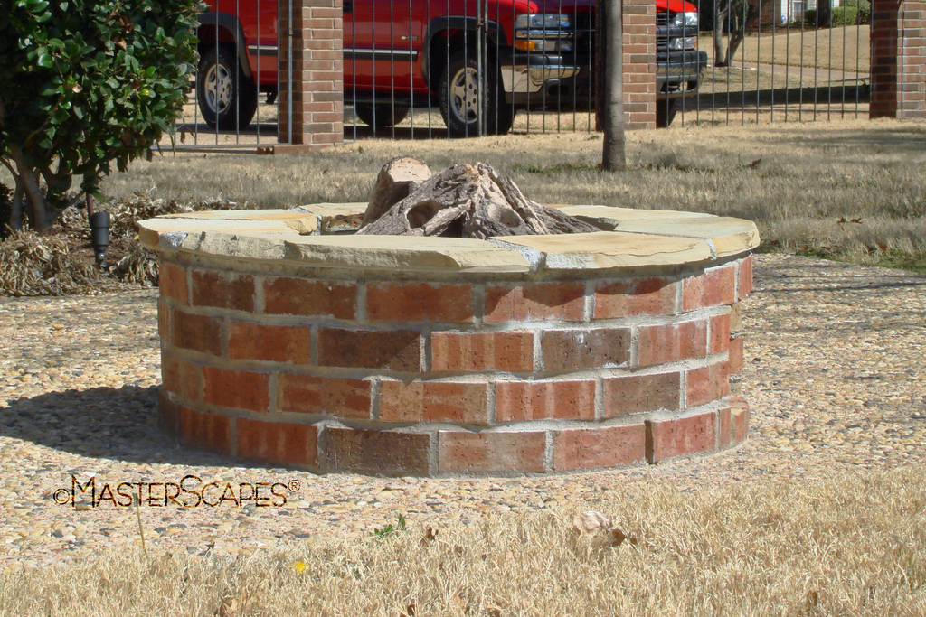 rustic feel with brick fire pits garden landscape