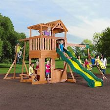 Kids Wood Belt Swing Play Set Porch Pergola Double Fort Bench Slide Monkey Bars