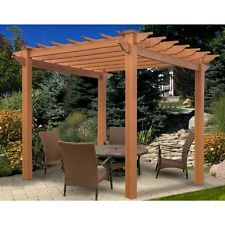 Pergola Gazebo Kit Vinyl Brown Outdoor Modern Small Patio Free Standing Garden