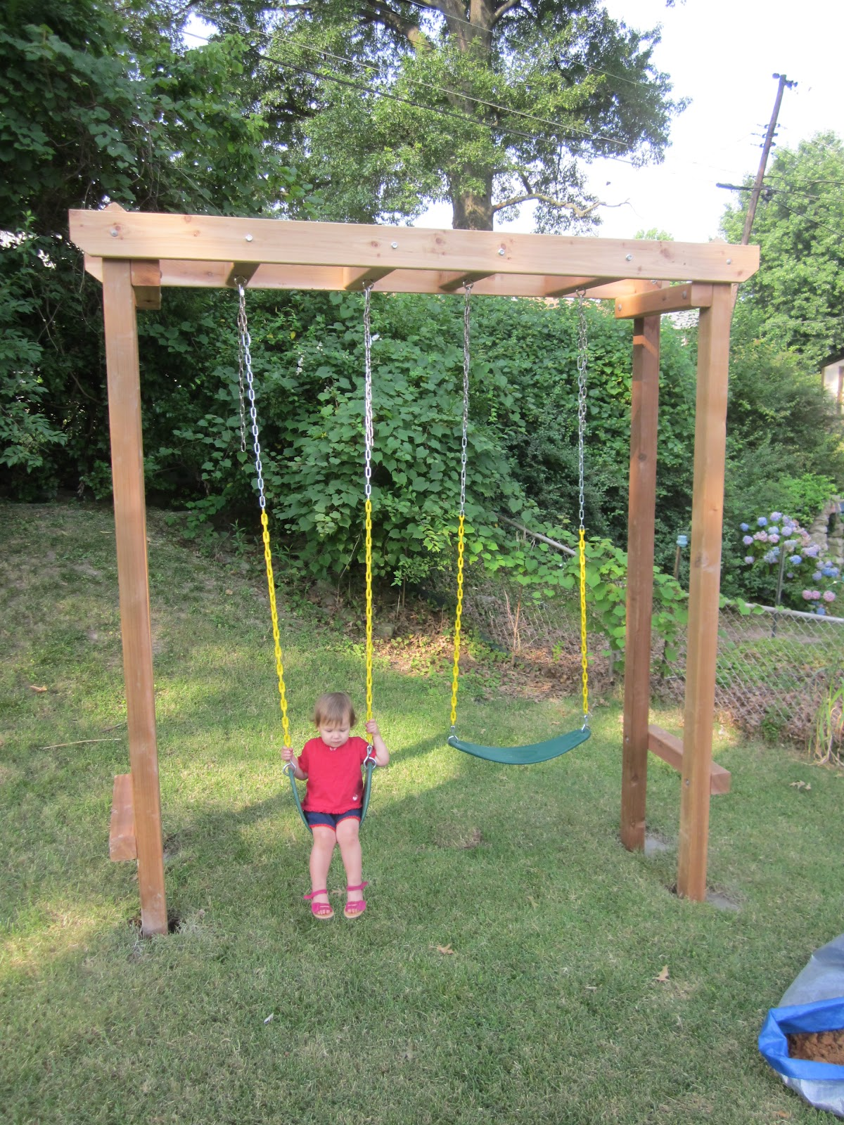 Amazing pergola swing set plans garden landscape for Outdoor swing plans
