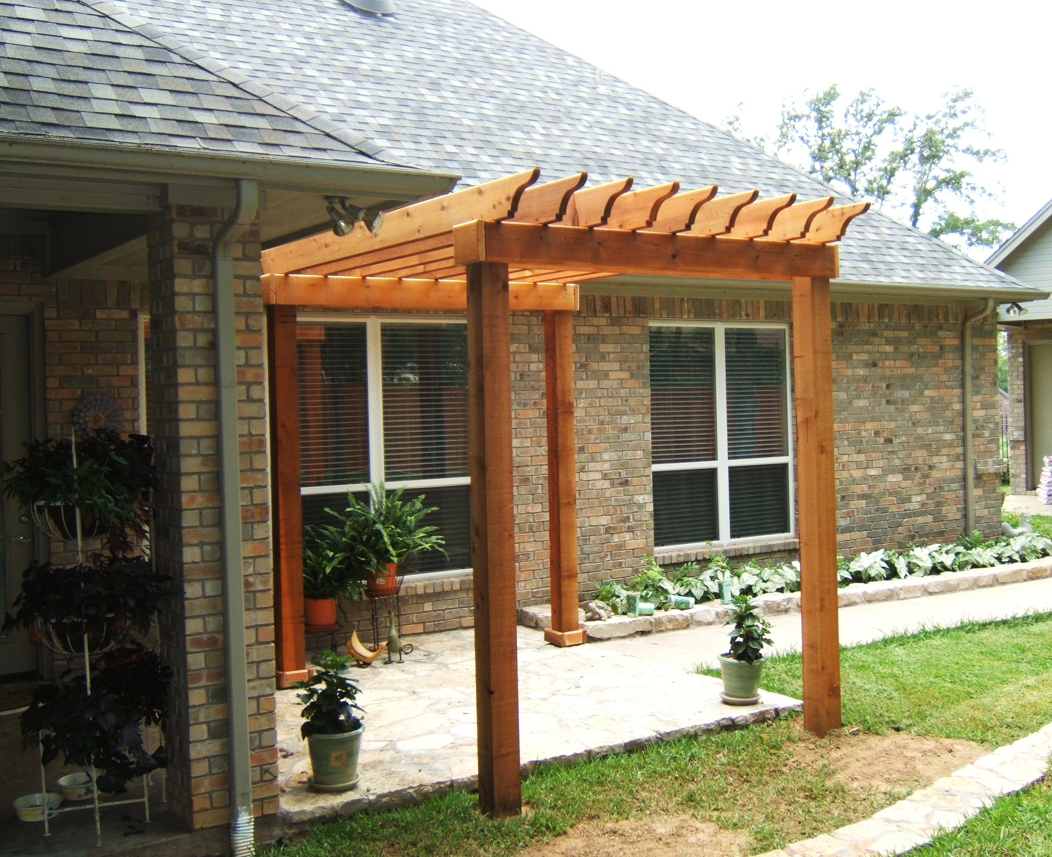 Low price small pergola plans garden landscape for Small house deck designs