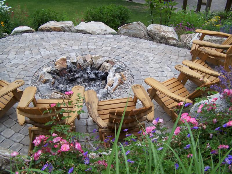 Stone patio designs fire pit
