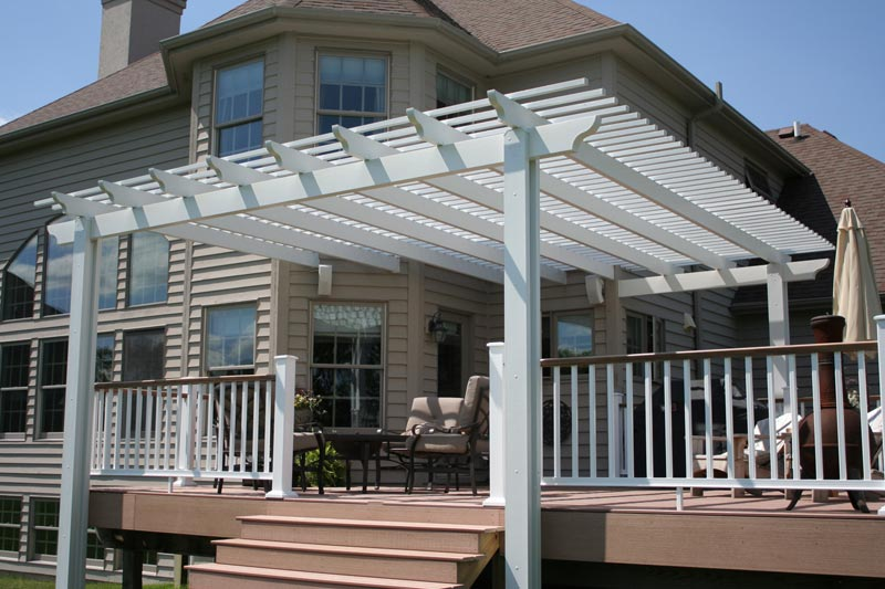 Attached composite pergola