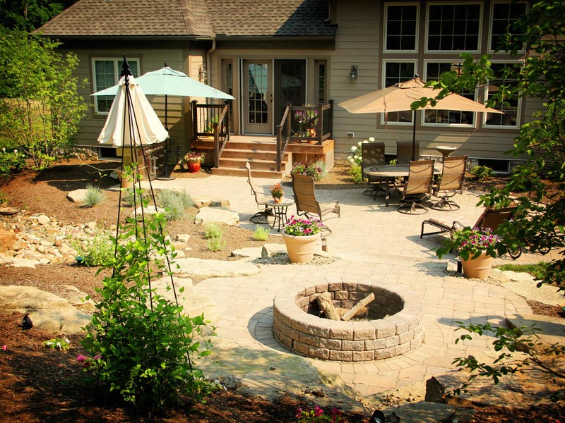 Backyard fire pit patio designs