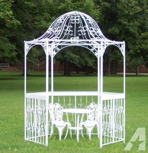 Improbable white wrought iron gazebo garden landscape - Build rectangular gazebo guide models ...