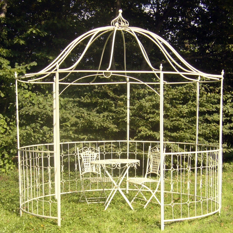 Buy wrought iron gazebo frame garden landscape for Metal frame pergola designs