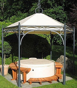 wrought iron gazebo with canopy