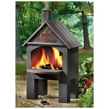 CASTLECREEK Cabin Cooking Steel Chiminea for Backyard or Outdoor Patio