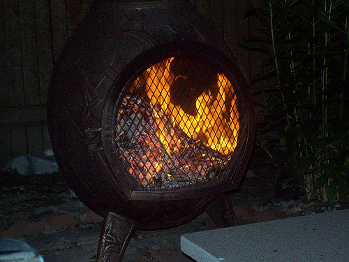 fire flames firepit chiminea